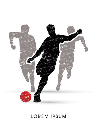 poach: Soccer players, Running designed using grunge brush graphic vector