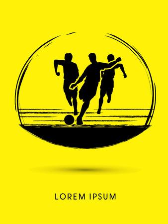 Soccer players, Running designed using grunge brush graphic vector