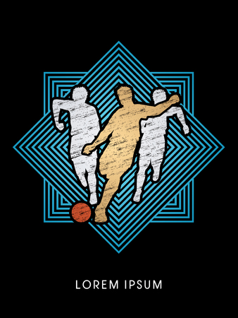 poach: Soccer players, Running designed using grunge brush on line square graphic vector Illustration