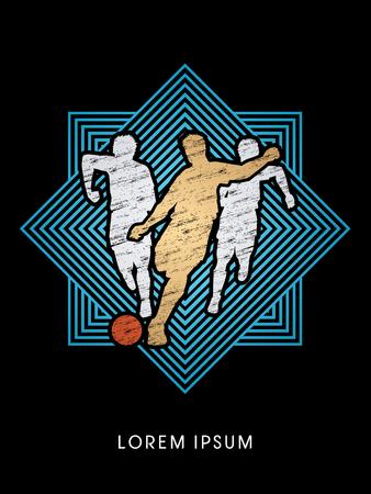 Soccer players, Running designed using grunge brush on line square graphic vector Illustration