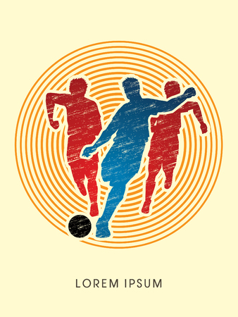 poach: Soccer players, Running designed using grunge brush on circle line graphic vector