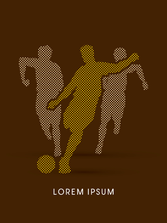 poach: Soccer players, Running designed using dot and square graphic vector