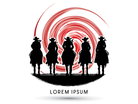 Silhouette, Cowboy Gangs on horse, designed on grunge spin circle graphic vector