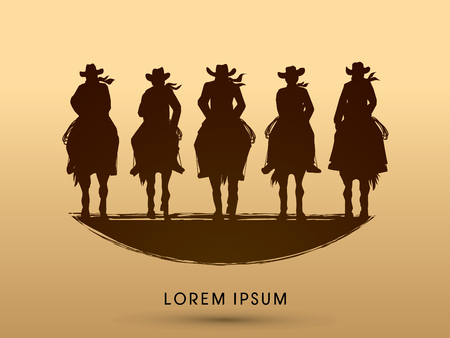 Silhouette, Cowboy Gangs on horse, graphic vector Stock Illustratie