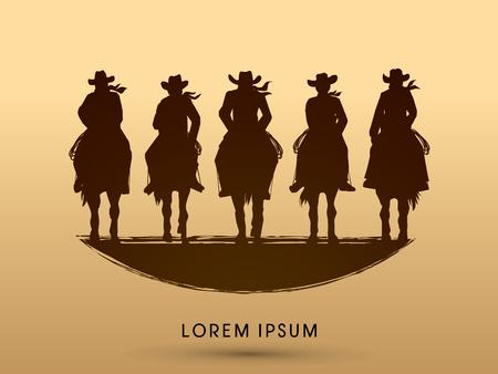 male silhouette: Silueta, Pandillas de vaquero en el caballo, gr�fico de vector Vectores