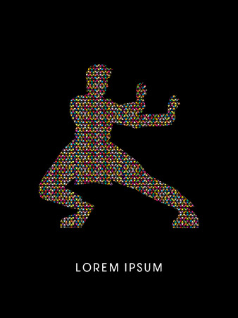 fu: Kung fu pose, designed using colorful mosaic pattern graphic vector.