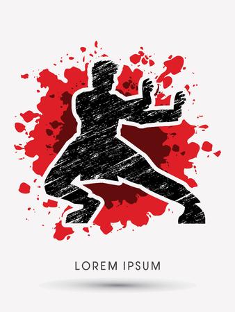 kung: Kung fu pose, designed using grunge brush on splash blood background graphic vector.
