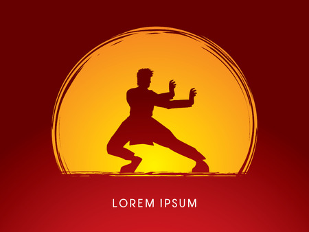 fu: Kung fu pose, designed on moonlight background  graphic vector.