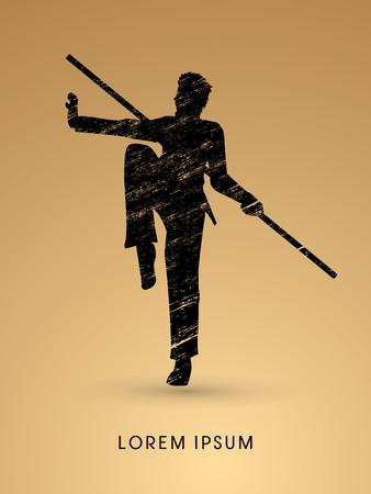 viet vo dao: Kung Fu, Wushu with stick pose, designed using grunge brush graphic vector. Illustration