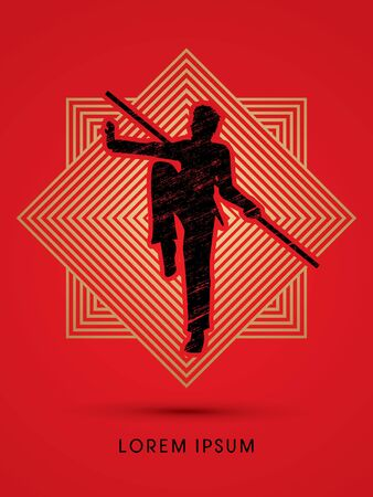Kung Fu, Wushu with stick pose, designed using grunge brush on line square graphic vector.