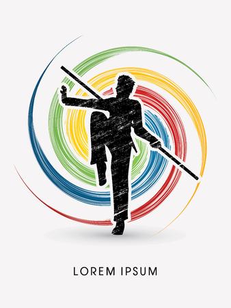 taiji: Kung Fu, Wushu with stick pose, designed using grunge brush on spin circle graphic vector.