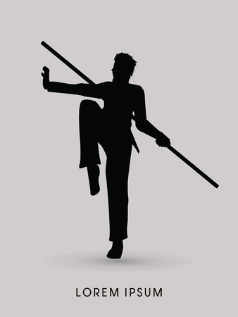viet vo dao: Kung Fu, Wushu with stick pose, silhouette graphic vector. Illustration