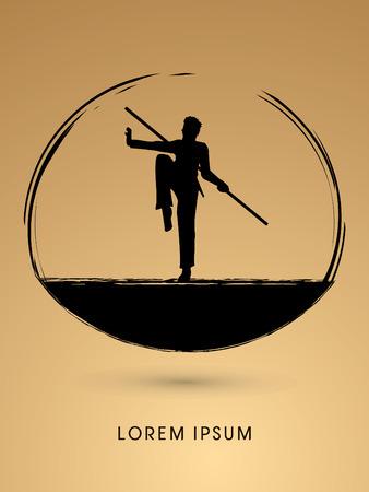 Kung Fu, Wushu with stick pose, designed using grunge brush graphic vector. Illustration