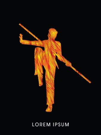 taiji: Kung Fu, Wushu with stick pose, designed using fire brush graphic vector.