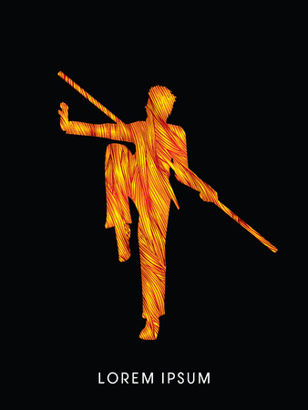 Kung Fu, Wushu with stick pose, designed using fire brush graphic vector.