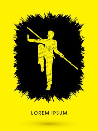 taiji: Kung Fu, Wushu with stick pose, designed using grunge brush on ink splash graphic vector.