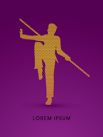 viet vo dao: Kung Fu, Wushu with stick pose, designed using line triangle pattern graphic vector.