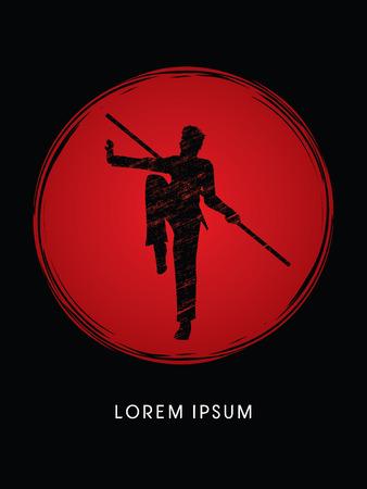 wushu: Kung Fu, Wushu with stick pose, designed using grunge brush  on grunge circle background graphic vector.