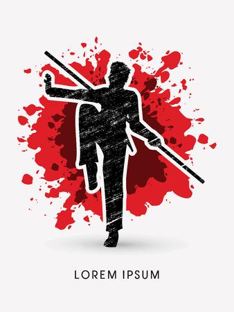 taiji: Kung Fu, Wushu with stick pose, designed using grunge brush on splash blood graphic vector. Illustration