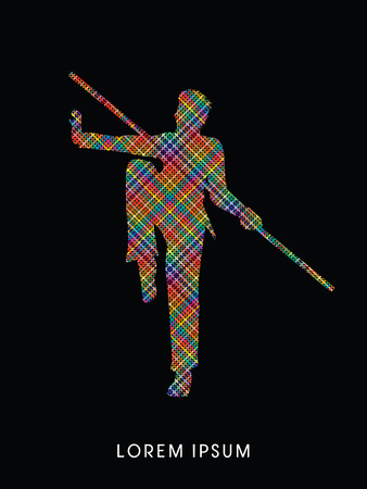 wushu: Kung Fu, Wushu with stick pose, designed using colorful pixels graphic vector.