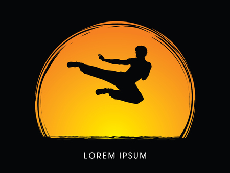 viet vo dao: Kung fu, Karate jump kick, designed on moonlight background graphic vector.