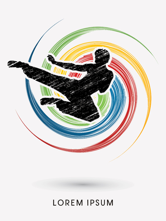 Kung fu, Karate jump kick , designed using grunge brush on colorful spin circle background  graphic vector.