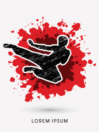 Kung fu, Karate jump kick , designed using grunge brush on splash blood background graphic vector. Illustration