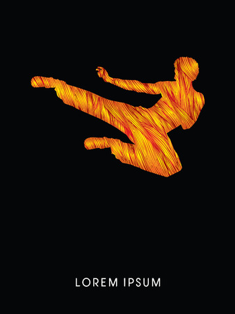 viet vo dao: Kung fu, Karate jump kick , designed using grunge fire brush graphic vector.