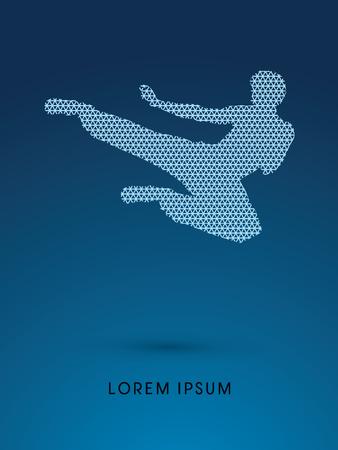 viet vo dao: Kung fu, Karate jump kick , designed using line triangle pattern graphic vector.