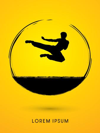 Kung fu, Karate jump kick , designed using grunge brush graphic vector.