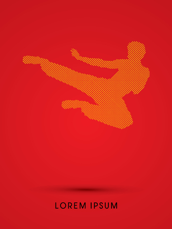viet vo dao: Kung fu, Karate jump kick , designed using dot and square graphic vector. Illustration