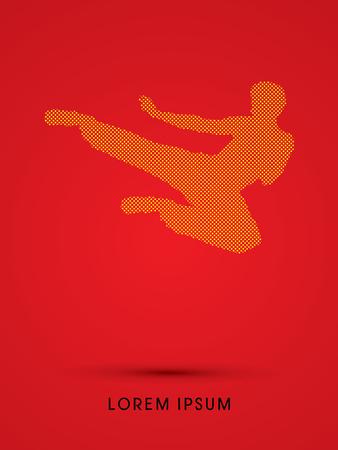 Kung fu, Karate jump kick , designed using dot and square graphic vector. Illustration