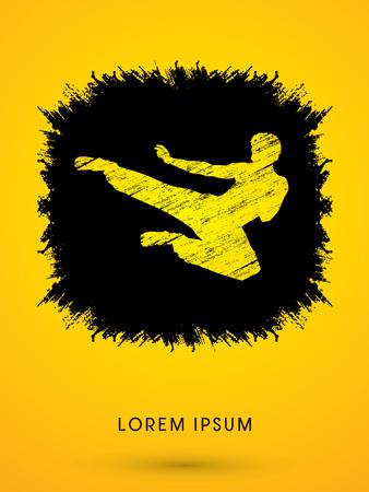 viet vo dao: Kung fu, Karate jump kick , designed using grunge brush on splash ink background graphic vector. Illustration