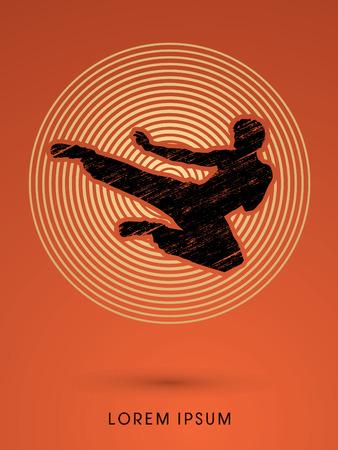 Kung fu, Karate jump kick , designed using grunge brush on line circle background graphic vector. Illustration