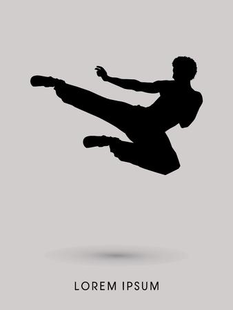 dao: Kung fu, Karate jump kick , silhouette graphic vector.