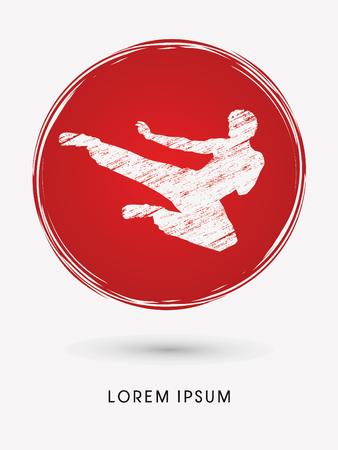 viet vo dao: Kung fu, Karate jump kick , designed using grunge brush on grunge circle background graphic vector. Illustration