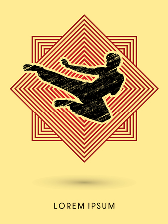 viet vo dao: Kung fu, Karate jump kick , designed using grunge brush on line square background graphic vector. Illustration