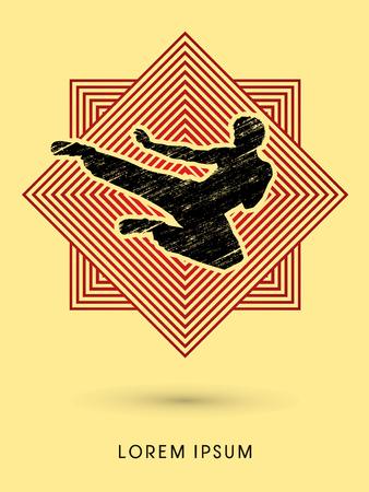vietvodao: Kung fu, Karate jump kick , designed using grunge brush on line square background graphic vector. Illustration