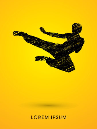 viet vo dao: Kung fu, Karate jump kick , designed using grunge brush graphic vector.