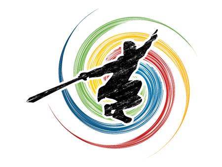 taiji: Kung Fu, Wushu with sword pose, designed using grunge brush on spin circle graphic vector. Illustration