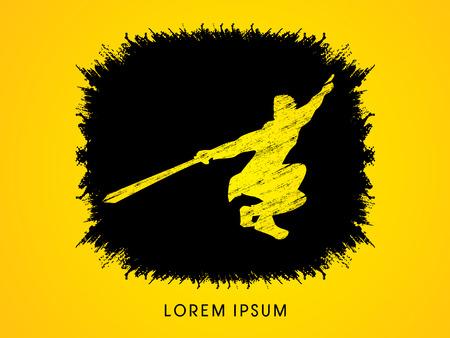 taiji: Kung Fu, Wushu with sword pose, designed using grunge brush on splash ink background graphic vector.