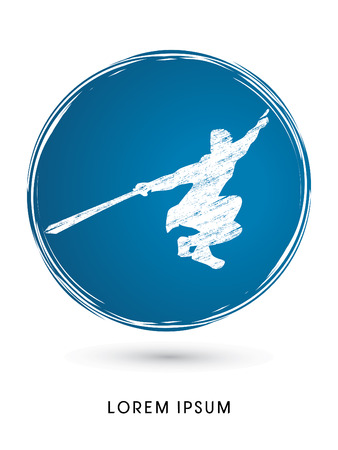 taiji: Kung Fu, Wushu with sword pose, designed using grunge brush on circle background graphic vector. Illustration