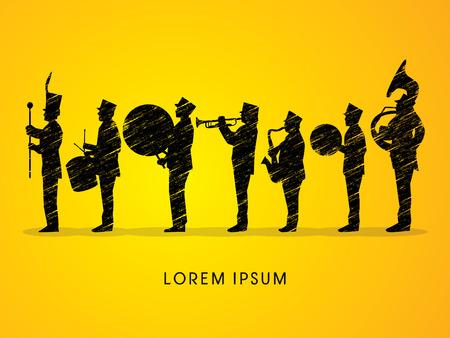 Silhouette Marching Band, parade, graphic vector. Ilustração