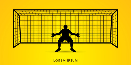 goalkeeper: Silhouette Goalkeeper standing graphic vector.