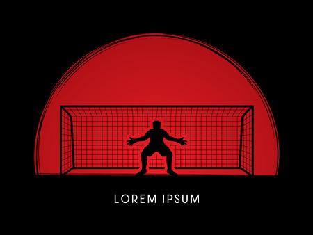 goalkeeper: Goalkeeper standing designed on sunset or sunrise background graphic vector.