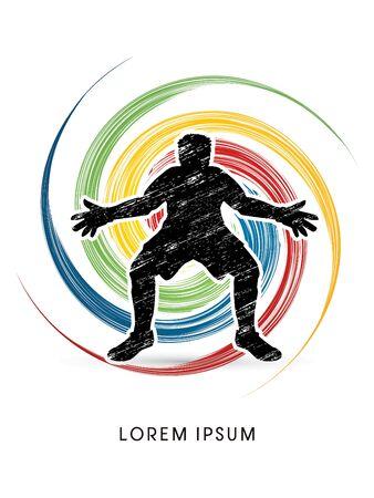 sphere standing: Goalkeeper standing designed using grunge brush on spin circle background graphic vector. Illustration