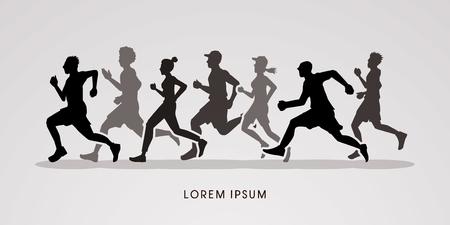 marathon runner: Running , Marathon silhouette graphic vector.