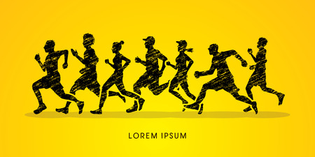 marathon: Running, Marathon designed using grunge brush graphic vector. Illustration