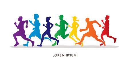 silueta masculina: Correr, Maratón diseñado utilizando colores colorido gráfico vectorial.