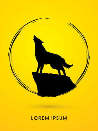 sphere standing: Wolf howling, designed using grunge brush in circle shape graphic v